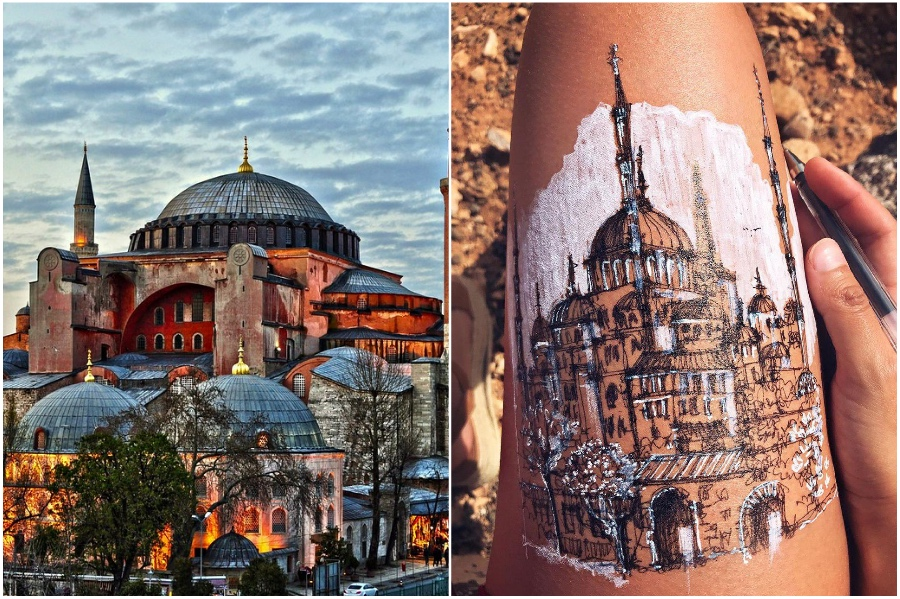 Hagia Sophia in Istanbul  | Artist Uses Her Body As A Canvas For Architecture Sketches | Her Beauty