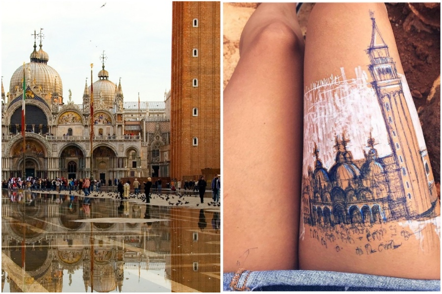 Saint Mark's Basilica in Venice, Italy | Artist Uses Her Body As A Canvas For Architecture Sketches | Her Beauty