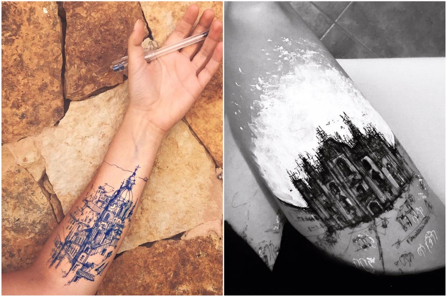 Gothic architecture sleeve tattoo | Artist Uses Her Body As A Canvas For Architecture Sketches | Her Beauty