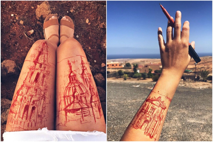 Red Tattoo | Artist Uses Her Body As A Canvas For Architecture Sketches | Her Beauty