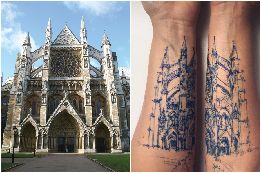 Westminster Abbey | Artist Uses Her Body As A Canvas For Architecture Sketches | Her Beauty