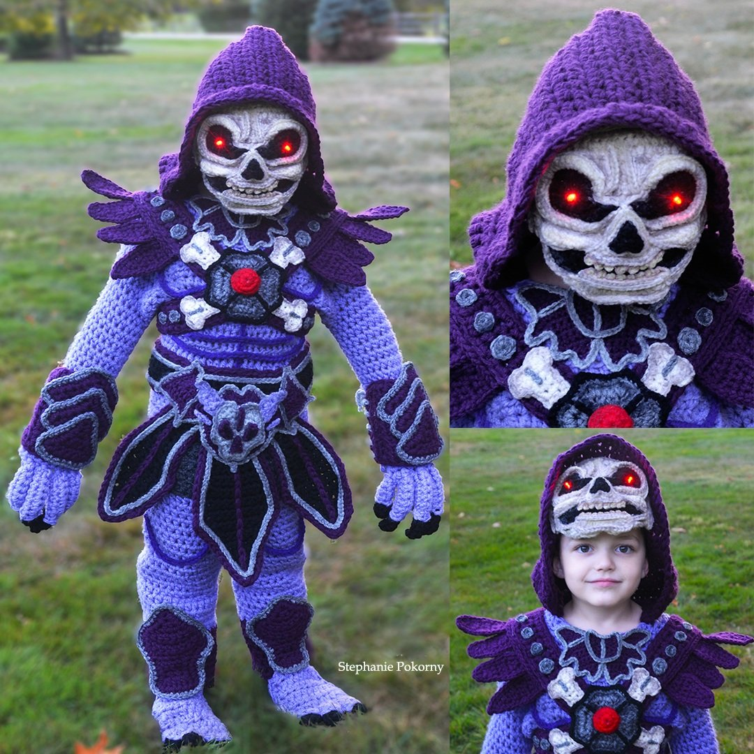 Skeletor from Masters of the Universe | Mom Crochets Incredibly Elaborate Pop Culture Costumes | Her Beauty