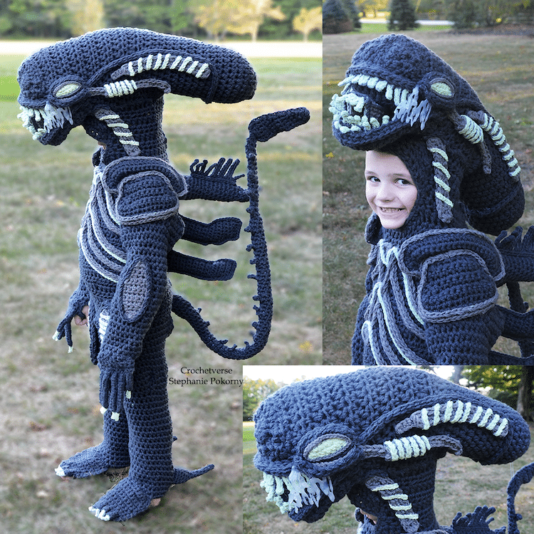 Xenomorph from Alien costume  | Mom Crochets Incredibly Elaborate Pop Culture Costumes | Her Beauty