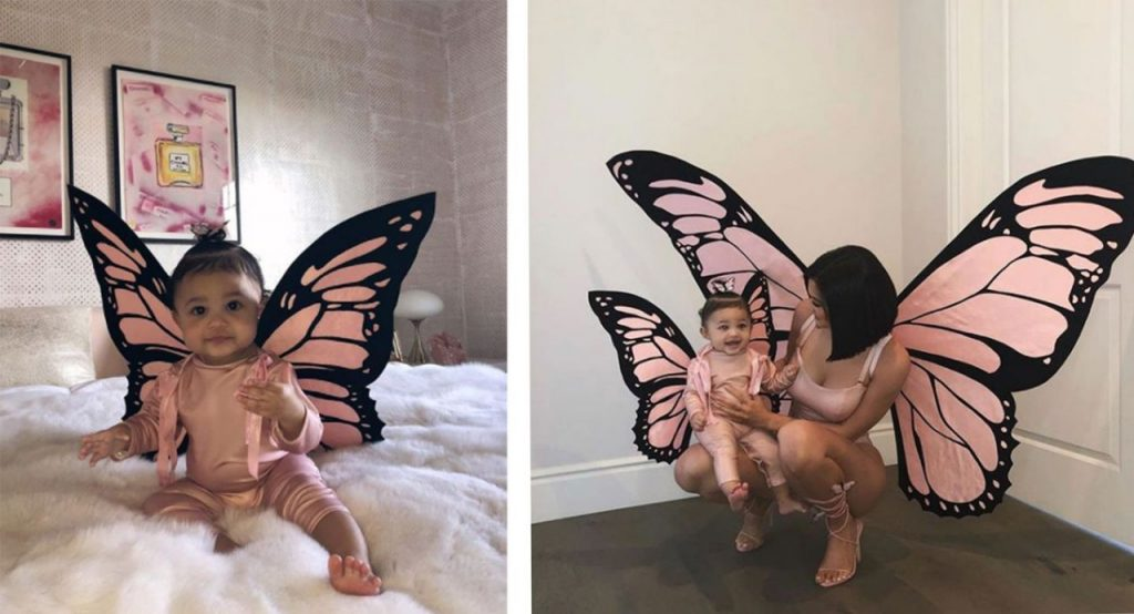 Stormi and Kylie as  butterfly twins  | Stormi Webster Dressed As Mom Kylie and Dad Travis is Totally Adorable | Her Beauty