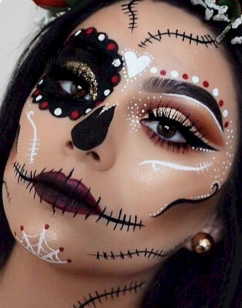 Combining two different looks | 10 Day of the Dead Makeup Ideas | Her Beauty