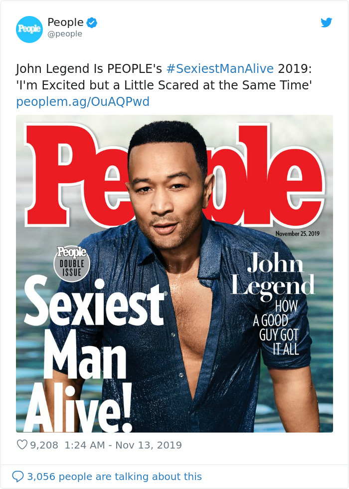 People magazine | John Legend Is Named 2019's Sexiest Man Alive And His Wife Chrissy Teigen Becomes His Biggest Troll | Her Beauty