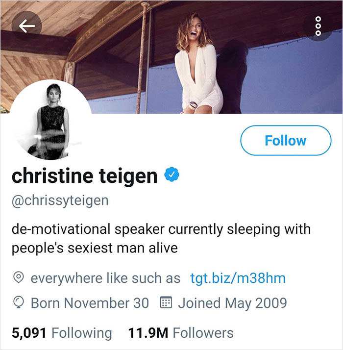 Chrissy Tiegen's twitter | John Legend Is Named 2019's Sexiest Man Alive And His Wife Chrissy Teigen Becomes His Biggest Troll | Her Beauty