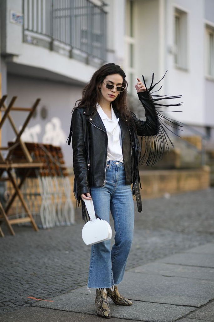 Fringed leather jackets  | 9 Best Leather Jacket Outfit Ideas | Her Beauty