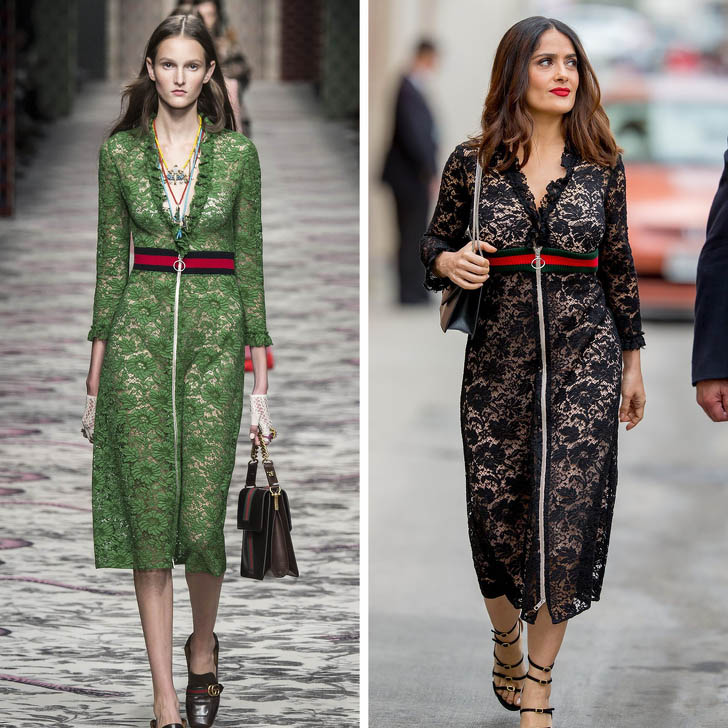Salma Hayek – Gucci | Who Wore It Best: 12 Dresses Celebs Took Right Off The Catwalk | Her Beauty