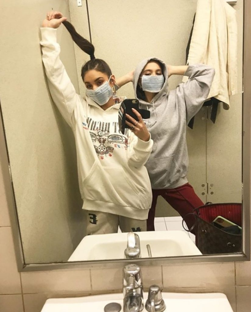 13.Vanessa and Stella Hudgens | 19 Photos of Celebs and Fashion Influencers Wearing Face Masks | Her Beauty