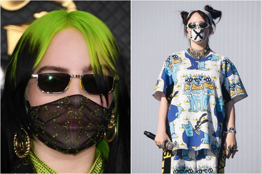 19. Billy Eilish | 19 Photos of Celebs and Fashion Influencers Wearing Face Masks | Her Beauty