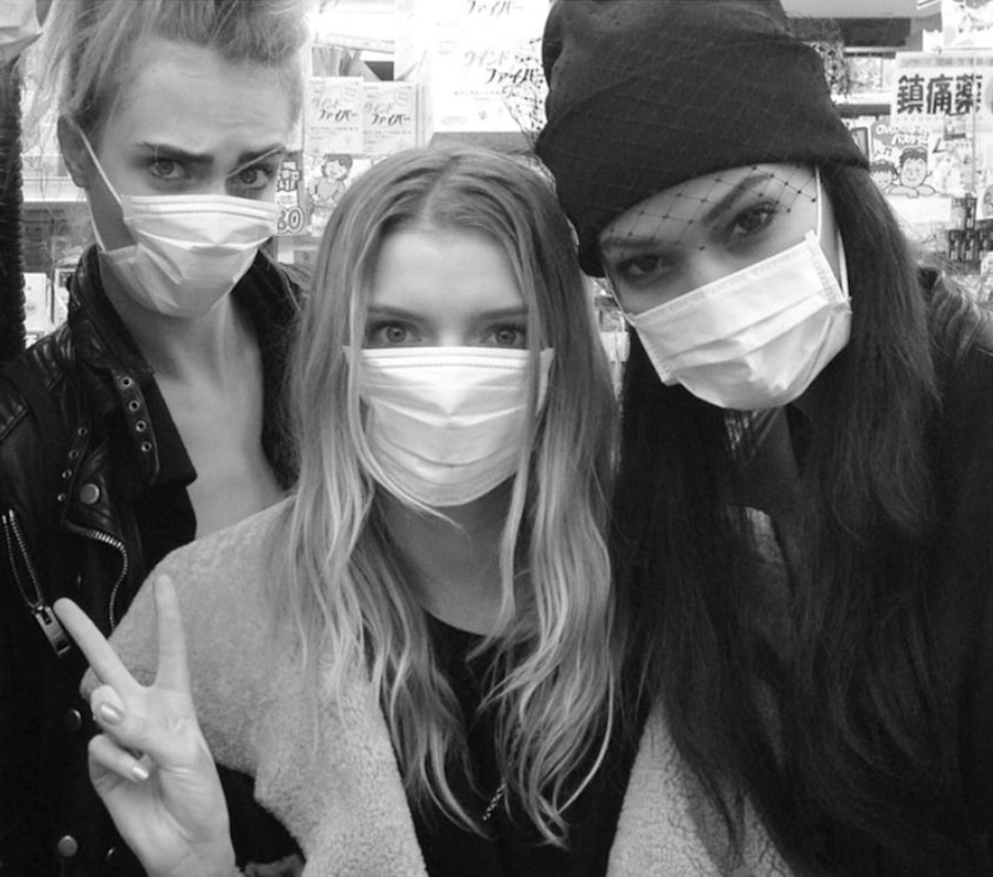 2. Cara Delevigne | 19 Photos of Celebs and Fashion Influencers Wearing Face Masks | Her Beauty