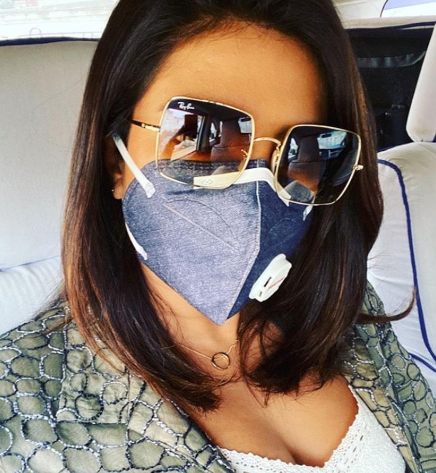 7. Priyanka Chopra | 19 Photos of Celebs and Fashion Influencers Wearing Face Masks | Her Beauty
