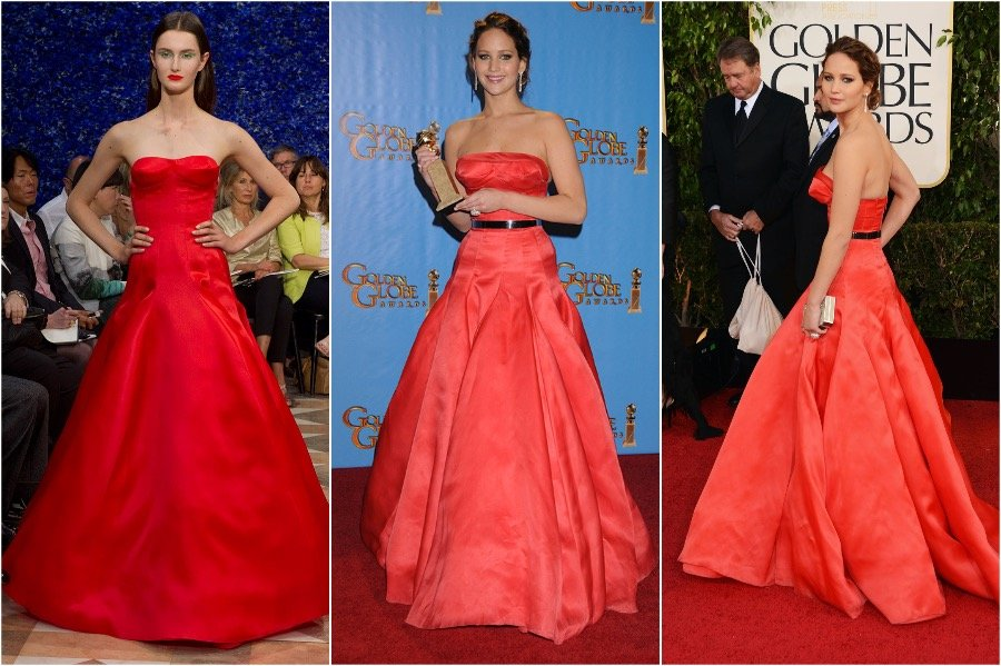 Jennifer Lawrence in Christian Dior | Runway Outfits That Look Completely Different on Celebrities and Models | Her Beauty