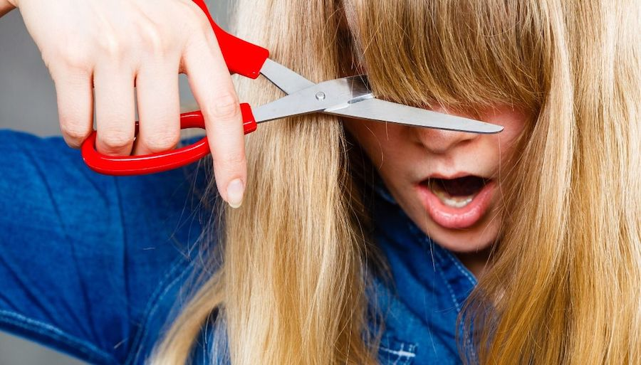 Never Cut Straight Across   How to Cut Your Bangs at Home   Her Beauty