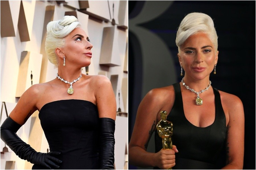 2. Lady Gaga, 2019 Oscars | The Most Memorable Red Carpet Jewelry | Her Beauty